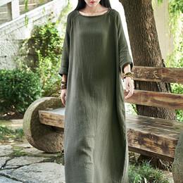 Abito donna vintage doppio cotone in lino con maniche lunghe a colletto quadrato autunno supplier linen women gown da abiti da donna di lino fornitori