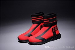 Le ultime sneaker da uomo calzino alto da donna Sorrento, stivali da allenamento in maglia stretch con tacco grosso Colore rosso blu nero Taglia 35-46 da