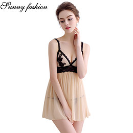 9e8d8e8eed6 Sexy Lingerie Erotic Lace Underwear Sexy Apricot Hot Erotic Babydoll Dress  Women Open Back Night Gown Mini Sex Clothing