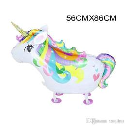 2019 globos de aluminio de aluminio al por mayor Venta al por mayor 8 estilos Rainbow Unicorn Foil Globos de papel de aluminio de dibujos animados de animales de boda de Halloween Decoración de Navidad Suministros para fiestas globos de aluminio de aluminio al por mayor baratos