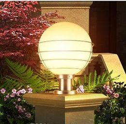 Lampadine post lampade online-Outdoor palla illuminazione luce colonna lampada da giardino pilastro esterno posta bianco acrilico trasparente E27 fuori pole via posta reggiseno