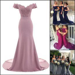 Onur kıyafet Tozlu Gül Pembe Gelinlik Modelleri Denizkızı Çiçek Dantel Aplike Boncuklu V Yaka Wedding Guest Abiye Kapalı Omuz Hizmetçi nereden hafif tenli nedime elbiseleri tedarikçiler