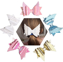 girls leather stick Promo Codes - New Baby Bow Hair Glitter Big Size 10.5cm Kids Angle Wings Hairpin PU Leather Hairpin Modish Girls Prince Hair Clip Bowknot Clip 5 colors