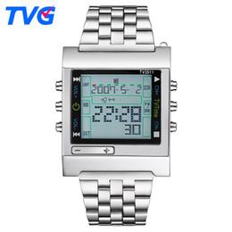 Reloj de la marca tvg online-Tvg Marca Relojes Deportivos Cuarzo Militar Led Hombres Digitales Alarma Impermeable Inteligente Remoto Reloj de Pulsera Relogio masculino C19041001