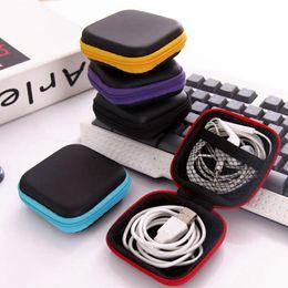 Organizador de auriculares auriculares online-Estuche para auriculares Funda de cuero de la PU Auriculares Mini cremallera Caja de auriculares Protector de cable USB Organizador Fidget Spinner Bolsas de almacenamiento 5 colores LYW1681