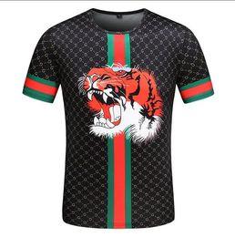 2019 più camicia di tigre di formato 2019 New Mens Designer T Shirt Girocollo Bee Lettera Tiger Head Print Designer Camicia Slim T Shirt Luxury di alta qualità Plus Size M-3XL più camicia di tigre di formato economici