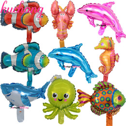 wholesale toys lobster Coupons - 50PCS 25*45CM Ocean Animal Balloons Birthday Party Lobster Octopus Fish Air Inflatable Balaos Decor Ocean Theme Supplies Toys
