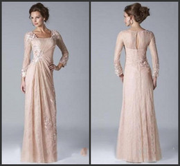 2019 New Vintage Champagne Madre della Sposa Abiti Scollo Quadrato Maniche Lunghe In Pizzo Chiffon Abiti Da Sera vestido de novia supplier long sleeved mother bride dresses da abiti da sposa a maniche lunghe fornitori