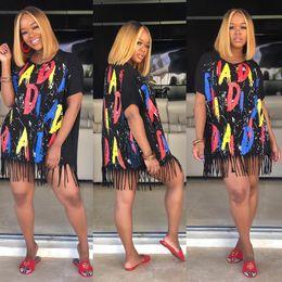 2019 gilet manchon Sexy Tassel Lettre Imprimer Robes Femmes D'été Col Ras Du Cou À Manches courtes Vêtements Femmes De La Mode Vêtements Casual