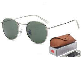 cool frames designer eyewear Desconto Clássico Rodada Óculos De Sol Fresco Das Mulheres Dos Homens de Ouro Da Marca Designer Óculos Óculos de Sol Armação de Metal 3447 Gafas de sol Lentes Oculos com caso