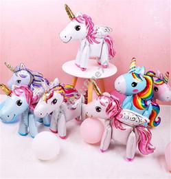 2019 globos de papel rosa 3D diy lindo arco iris unicornio foil globos Rosa Azul Púrpura Unicornio Soporte Globos boda fiesta de cumpleaños Decoración para niños juguetes rebajas globos de papel rosa