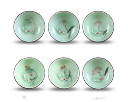 Chá dourado on-line-Copo De Chá De Cerâmica De Ouro De Peixe Chinês Drinkware Xícara De Chá de presente Bule De Cerâmica China Kung Fu Conjunto De Chá De cerâmica copo