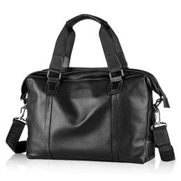 Borsa da spalla in pelle di vacchetta nera in vera pelle di vacchetta da uomo in vera pelle da uomo d'affari, borsa da viaggio vintage # 88403 cheap briefcase sales da vendita di valigette fornitori