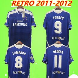 torres soccer jerseys Promo Codes - TORRES MATA LAMPARD 2011 2012 RETRO soccer jerseys vintage DAVID LUIZ TERRY football shirts classic blue home camiseta DROGBA LUKALU Maillot