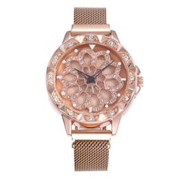 Deutschland Mode Frauen Drehbare Blume Strass Sternenhimmel Magnet Mesh Stahl Armbanduhren Luxus Beiläufige Weibliche Quarzuhr Relogio Feminino Versorgung