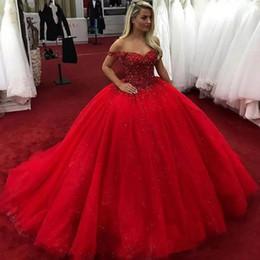 tüll geschichtetes modernes hochzeitskleid Rabatt Luxus Rot Brautkleider Top Perlen Tüll Glänzende Prinzessin Brautkleid Nach Maß Puffy Formale Party Kleid Robe De Mariee