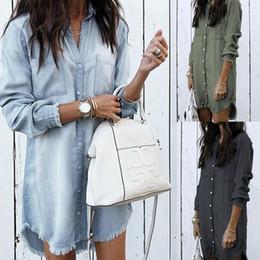 2020 blusas jeans mujer Las mujeres de la blusa de manga larga de Jean del dril de algodón Camisa de vestir Mujer Plus Tamaño de preparar la cama camisas verano de señora Casual Tops Oficina de la vendimia blusas jeans mujer baratos