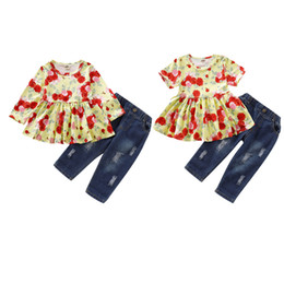 girl jeans top Promo Codes - Baby Girl Floral Set Infant Girl Long Sleeve Ruffle Little Floral Tops Baby Infant Girl Designer Clothes Girls Solid Color Pocket Jeans