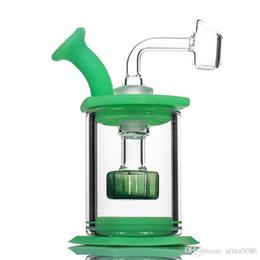 """Doccia pulita online-4.5 """"Montare la percolator della testa di doccia di vetro del bong del silicone Facile pulisca gli impianti di Dab con i bong del mini tubo di vetro del banger del quarzo di 4mm"""