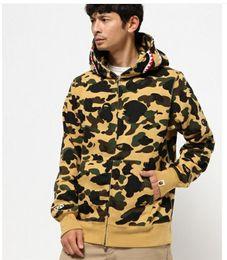 2019 cappuccio in pile di camo Felpe con cappuccio autunno inverno uomo verde militare Camouflage Hood Camo Fleece Zipper Moda Hip Hop Streetwear Felpa con cappuccio casual cappuccio in pile di camo economici