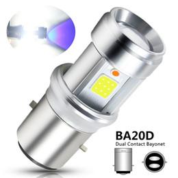 1pcs moto LED phare BA20D COB LED lentille en verre ampoules haute / basse lampe de brouillard blanc + lumière bleue DC 9-18V 3000LM super lumineux ? partir de fabricateur