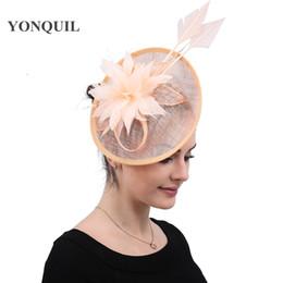 Головные уборы для свадеб онлайн-Fascinators для свадьбы шампанское шляпы элегантные дамы женский дерби головные уборы заколки женщины kenducky коктейль гонки головной убор бесплатная доставка