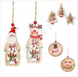 2020 ornamento diy do boneco de neve Árvore DIY enfeites de madeira pingente de Natal 3D Snowman sino pendurado decorações coloridas pendurando enfeites Início Festival desconto ornamento diy do boneco de neve