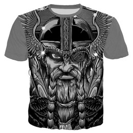 Camisas de tatuagem homens on-line-Crânio Art Nordic Viking Tattoo Camiseta Homens Mulheres piratas 3d Imprimir T -Shirts Vikings Rei manga curta Tops Casual Plus Size S-5XL