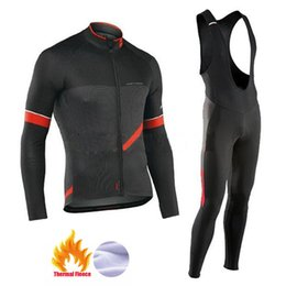 thermals suits Promo Codes - NW 2019 Winter thermal fleece Cycling Clothes Northwave men's Jersey suit thick riding bike MTB clothing warm set