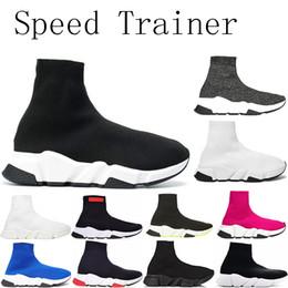 Billige herren socken online-ACE 2019 Designer Herren Casual Socken Schuhe billig Damen Marke Speed Trainer Schwarz Rot Dreifach Schwarz Fashion Socken Stiefel Läufer Sneaker 36-45