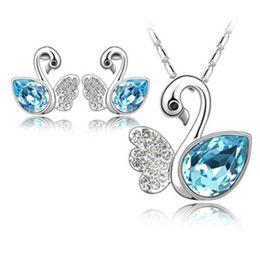 conjunto de pulseira de safira azul Desconto 12 conjunto Bonito 18 K Branco Banhado A Ouro Cristal Ausrtrian Swan Colar Brincos Conjuntos de Jóias com Elementos Swarovski Jóias de Casamento K5509