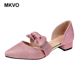 ladies bling pumps Promo Codes - Women's Square Medium Heels Ladies Pointed Toe Bow Mary Janes Caver Heels Rubber Sole Pumps Female Bling bling Wedding Shoes
