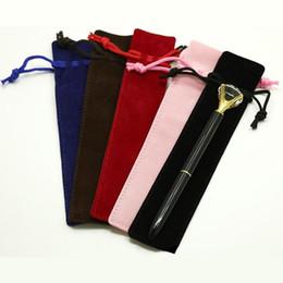 bolsa de caneta única Desconto Design Criativo Plush Veludo Pen Bolsa Titular Único lápis Caso Bag Pen Com Corda Escrita Escola Escritório Presente de Natal Student