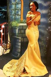 2019 gelbe nigerianische spitze African Nigerian Yellow Mermaid Abendkleider 2019 Off Shoulder Lace Pailletten Satin Abend Abendkleider Arabisch Kleider rabatt gelbe nigerianische spitze