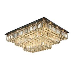 Neuer dimmbarer Rechteckkristalldeckenleuchter des Designs, der moderne Luxusunterputzleuchterlichter für Wohnzimmerschlafzimmerdekor beleuchtet von Fabrikanten