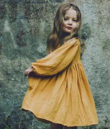 Осень лето Литтл девушки Органк льняные хлопчатобумажные платья с длинным рукавом пустой желтый A-line дизайн дети дети платья одежда cheap yellow linen dresses от Поставщики желтые льняные платья
