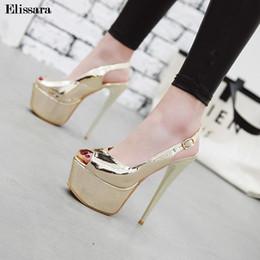 High heels 48 online-Frauen Sexy High Heels Pumps Schuhe Für Frau Schnalle Peep Toe Plattform Gold Heels Nachtclub Schuhe Größe 33-48 Elissara