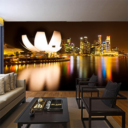 city bedroom wallpaper Promo Codes - Large 3d mural city night view non-woven bedroom wallpaper restaurant Living room TV background wall paper