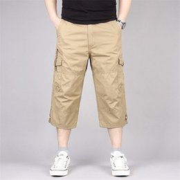 1b19f673ba9 Discount men cargo capri pants - Summer Mens Baggy Cargo Pants Multi Pocket  Calf Length Elastic