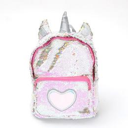 Lentejuelas reflectantes online-2018 nueva moda lentejuelas patrón de dibujos animados unicornio mochila pequeña Mochila reflectante multifunción de alta calidad para chicas lindas