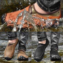 Línea de muelle de barco online-Zapatos transpirable Caminar Niza marea transpirable Hombres Primavera Verano Slip-On Line coser los zapatos ocasionales de los zapatos del barco # 516