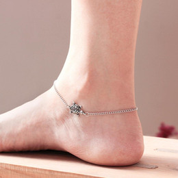beach charm anklet Coupons - Fashion Turtle Charm Chain Ankle Bracelet Women Anklet Summer Beach Jewelry Shipping