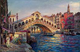 pintura a óleo de arte veneza Desconto Paisagem Urbana de Veneza com ponte sobre o canal Pintado À Mão Impressionista Paisagem Pintura A Óleo Sobre Tela Wall Art Home Deco de Alta Qualidade
