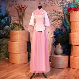 Deutschland Rosa Stickerei Bridemaid Hochzeitskleid chinesische Frauen Satin Qipao Cheongsam orientalische alte lange Quaste Stnd Kragen Vestidos cheap bridemaid long satin dresses Versorgung