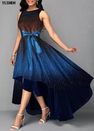2019 vestido estampado africano 2019 Africano Vestidos para As Mulheres Elegantes África Vestido Plus Size Irregular Impressão Estrela Arco Dashiki Bazin Riche Saia Africana roupas vestido estampado africano barato