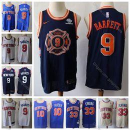 Camisetas de baloncesto vintage online-2019 KnicksX RJ Barrett Jersey 9 para hombre de la vendimia NY Patrick Ewing Walt Frazier 10 Mejores 1996 Classic Gold R. J. Barrett jerseys del baloncesto