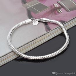 Venta al por mayor de fábrica 925 pulseras de plata esterlina 3 mm cadena de la serpiente Fit Pandora Charm Bead Bangle Bracelet regalo de la joyería para hombres mujeres buena desde fabricantes