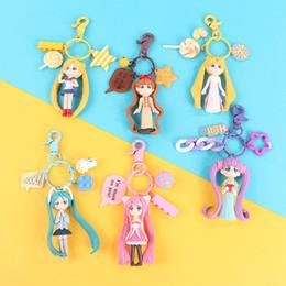 Portachiavi della luna online-Creativo Macarons del fumetto di Sailor Moon Kawaii portachiavi per auto coppia Zaino catena chiave Hanging regalo monili svegli Girly Moda