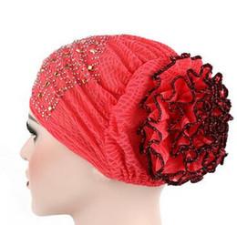 mütze für muslimische frauen Rabatt 1 teile / los Frauen Blume Moslemisches Haar Kappe Turban Hut große blume elastische Kopf Wrap Einfarbig Hut indian arabia