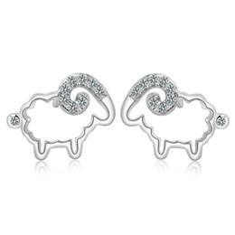 Jóias de ovelhas on-line-Atacado 925 jóias de prata esterlina brincos de cristal Suíço casamento carneiro gordo em forma de encantos étnicos do vintage